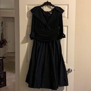 Portrait collar A-Line Midi dress